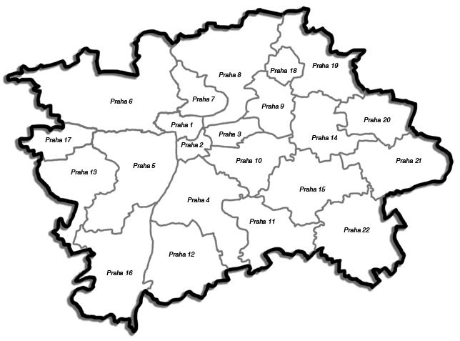 Mapa Mapa Prahy Podle Mestskych Casti